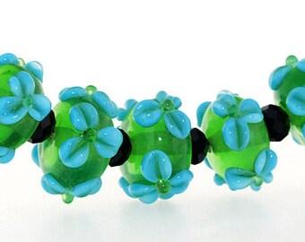 Hole 3mm 5Beads Lampwork beads Green Sea Blue Flowers beads Handmade jewelry designs  European Style