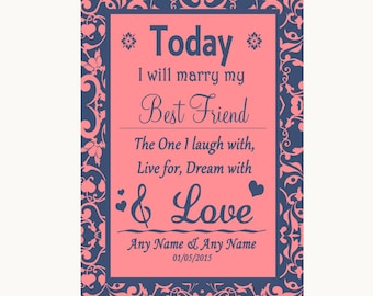 Coral Pink & Blue Today I Marry My Best Friend Personalised Wedding Sign