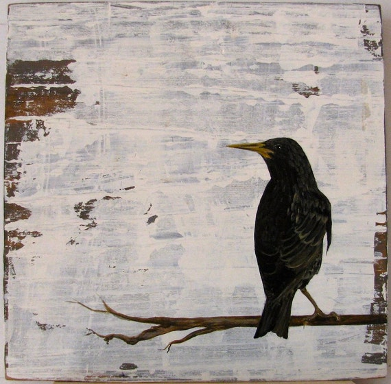 Black Bird  Walk in the Woods original acrylc painting on re-purposed wood