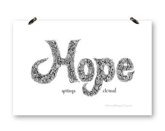 Hope Print,Pen and Ink Drawing,Digital Download,Floral Artwork,Gift for Her,Black and White Art,Coloring Page,Inspirational Art,Easter Gift