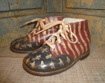 Primitive Painted Americana Hard Sole Toddler Shoes | Old  Baby Shoes | Vintage Baby Shoes | Antique Baby Shoes | Old Glory | Red White Blue