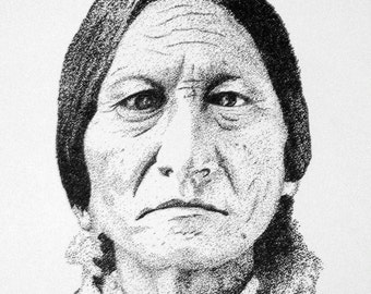 Sitting Bull Original Pointillism Pen and Ink Art Portrait
