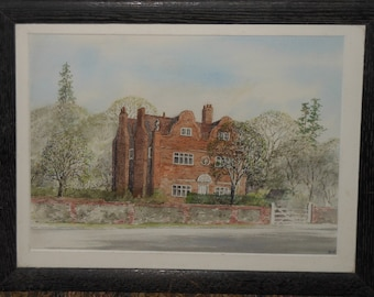 Vintage  house water color ca. 1950s
