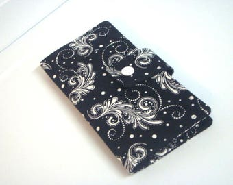 Fabric Checkbook Cover, Holder -  Black with White Firework Swrils