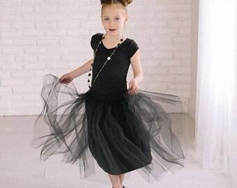 Girls Black Tulle Midi Skirt Sizes 3/4, 4/5, 6/6X, 7/8, 10/12 Ready to Ship