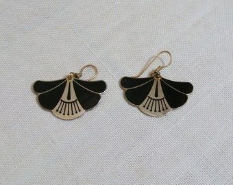 Vintage Black Enamel Laurel Burch Earrings - Pierced