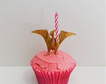 Gold Pterodactyl Candle Holder Cake Topper // Dinosaur Birthday Party Decor // Party Supplies // Animal Party Decor // Cupcake Decoration