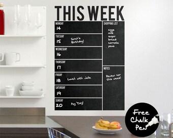 Write & Wipe - Weekly Wall Calendar / Planner / Board - Vinyl Wall Decal / Sticker - Free Chalk Pen Included