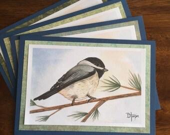 Chickadee on a Pine Branch - Handmade Greeting Card Note Card