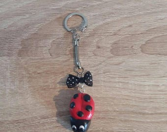 Keychain with a polymer clay Ladybug