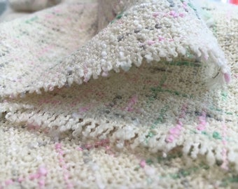 BOUCLE Fabric by The Yard WOOL Boucle Fabric White Boucle Tweed Fabric Wool Tweed Fabric White Tweed Fabric White Wool Fabric REMNANT