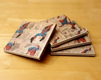 Coasters, Spiderman Decor, Coaster Set, Tile Coasters, Housewarming Gift, Home Decor, Gift Idea, Ceramic Tile Coasters, Birthday Gift