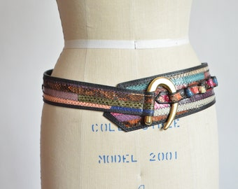 Vintage 1980s SNAKESKIN patchwork leather belt