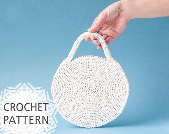Crochet Bag Pattern Raffia Bag Round Bag Slim Purse Straw