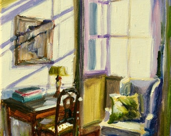 SUNLIT WINDOW, Art Print of Original Oil Painting, Sunlit Room, French Interior, purple and green