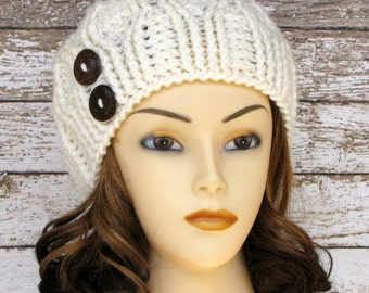 Off White Woman's Cabled Winter Hat, Ladies Warm Winter Hat