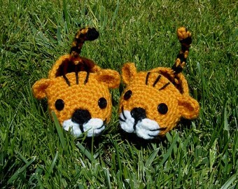 Baby Boy Tiger Booties, Photo prop - INSTANT DOWNLOAD Crochet Pattern
