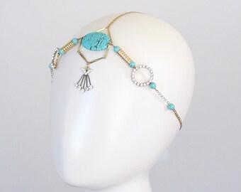 Bohemian Headpiece Turquoise Stone Chain Headpiece  Headwrap Wideband Headband