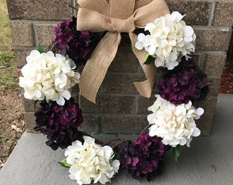 Hydrangea Wreath, Everyday Wreath, Floral Wreath, Spring Wreath, Purple and White, Front Door Decor, Front Door Wreath, Grapevine Wreath