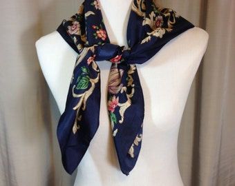 Large Navy Blue Floral Scarf with Browns Red and Green 31 Inches by 31 Inches Previously Fifteen Dollars ON SALE