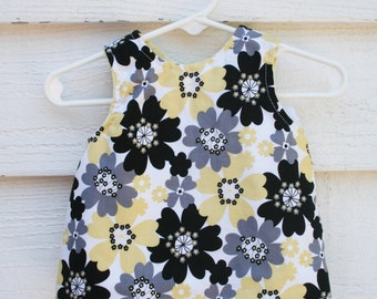 Yellow and black floral reversible pinafore, baby girl dress, baby girl outfit, baby girl clothes, reversible dress, ready to ship