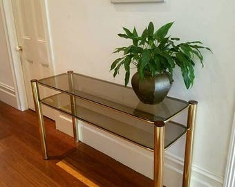 Hollywood Regency gold and stained glass hallway table