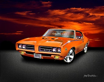 Auto Art - Muscle Car - 1969 Pontiac GTO - The Judge - Classic Car Print - Hot Rod Art - Giclee Print - AW7