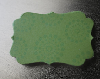 Green Circle Dot Decorative Die Cut Tag Sticker Set of 10