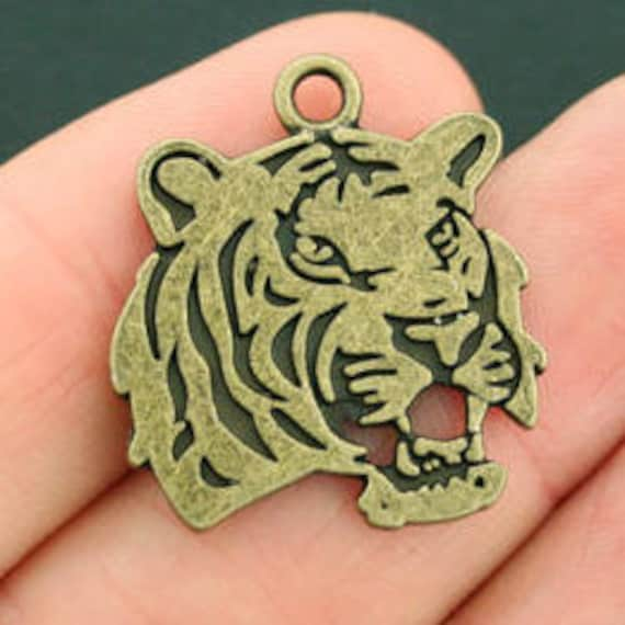 CLEARANCE 2-10 piece Tiger Charm, Bronze Silver Tiger Head Charms for Jewelry, 24 x 27mm Tiger Charms, Tiger Mascot Jewelry, Tiger Gifts