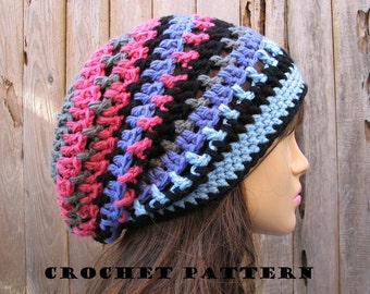 Crochet hat pattern - Slouchy  Hat, Crochet Pattern PDF,Easy, Great for Beginners,  Pattern No. 36