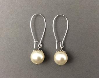 Pearl Earrings In Silver With Cream Swarovski Crystal Pearls