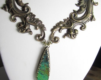 Green with Envy Necklace - Parrot Wing Jasper, Vintage Brass Stampings Necklace