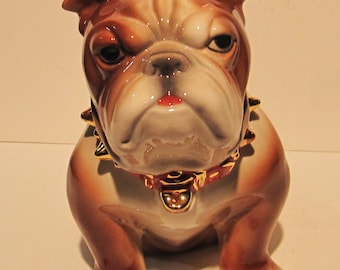 Bulldog Cookie Jar Airbrush and Accented in 14K Gold