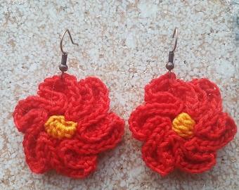 embossed Flower Earrings