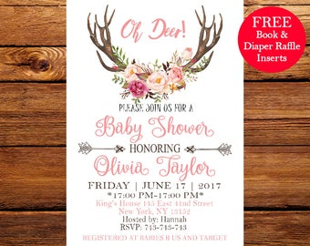 Oh Deer Baby Shower Invitation. Deer Baby Shower Invitation. Rustic Baby Shower Invitation. Boy Baby Shower,Floral Bouquet chic  214