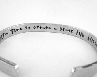 Graduation Gift, Personalized College Highschool Graduation Gift, Inspirational Message Jewelry, Create a Great Life Quote Cuff