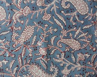 Handmade Indian White Paisley Blockprint