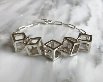 Cube Statement Bracelet, Contemporary Bracelet, 3D Cube Bracelet, Unique Bracelet, Eye-Catching Bracelet, Distinctive Bracelet