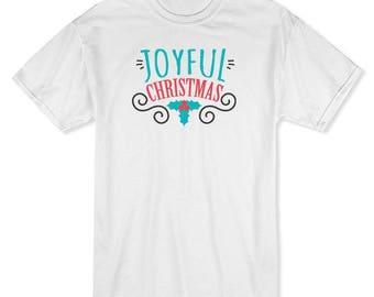 Joyful Christmas Christmas Leaves Ornament  Men's White T-shirt