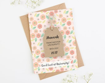 Good Luck at University Card Personalised Floral