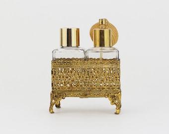 Brass Vanity Set - Perfume Atomizer and Glass Bottle - Vintage 1950s Gold Filigree Perfume Bottle