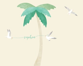 Palm Tree Fabric Wall Decals - Watercolor Palm Trees