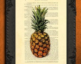 pineapple print   pineapple decor   summer wall decor   vintage pineapple poster   summer fruit art