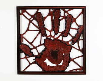 Trapped - Hand Stuck in Spider Web Wall Decoration Hanging Wood Art Piece Decor