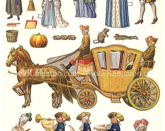Cinderella 1910's Paper Doll Printable Digital Download 1920's Hellen Pettes Carriage Horseman Fairy Tale Princess