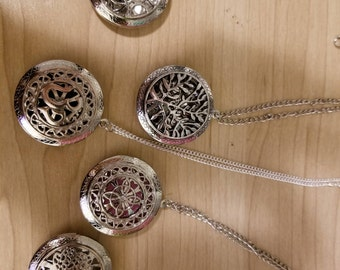 Decorative Locket-style Essential Oil Diffuser Pendants/Aromatherapy: your CHOICE of 3 oil scents, chain style (ss925), and pendant!!