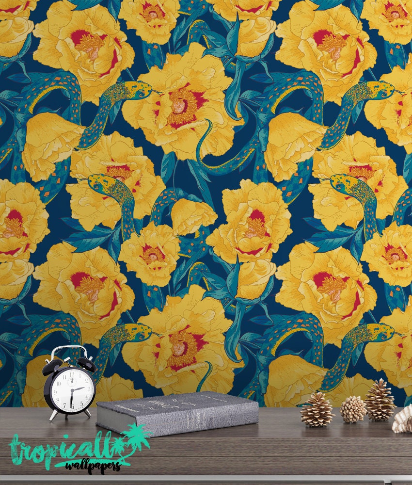 Floral Snake Wallpaper Removable Wallpapers Exotic Flower