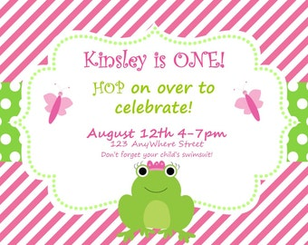 Frog Birthday Invitation - Frog Party Invite - Pink and Green - Available in ANY theme
