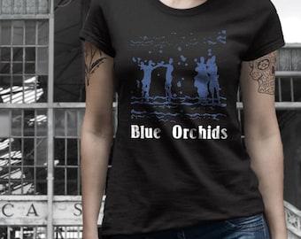 Blue Orchids  T shirt screen print short sleeve     shirt cotton