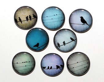 Birds On A Wire - Set of 8 Pinback Buttons Badges 1 inch